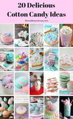 Top 20 Cotton Candy Ideas - enjoy this yummy treat in a variety of fun and unique ways! Many recipes are great for Easter! Sugar Free Recipes, Candy Recipes, Dessert Recipes, Tea Recipes, Cupcake Recipes, Cooking Recipes, Just Desserts, Delicious Desserts, Cotton Candy Cookies