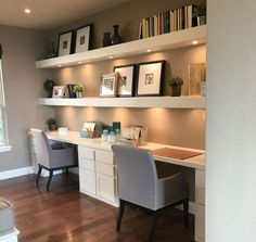Gorgeous Desk Designs for any Office : built in desk, built in two person desk in home office decor with open shelf decor, home office in living room Guest Room Office, House Interior, Home Remodeling, Home, Interior, Small Home Offices, Home Office Design, Home Decor, Office Design