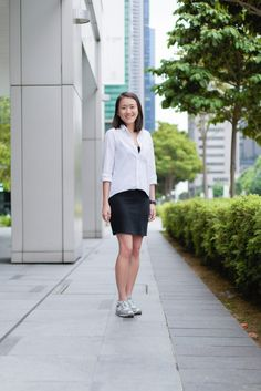SHENTONISTA: Clear-cut. Amanda, Advertising. Top from ZARA, Dress from H&M, Shoes from New Balance, Watch from Calvin Klein. #shentonista #theuniform #singapore #fashion #streetystyle #style #ootd #sgootd #ootdsg #wiwt #popular #people #male #female #womenswear #menswear #sgstyle #cbd #ZARA #HM #NewBalance #CalvinKlein