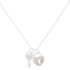 Silver Crystal Heart Lock & Key | Claire's