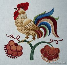 The Crewel Rooster - embroidery in various crewel wool threads
