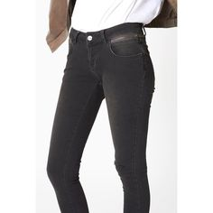 Anine Bing Cropped Jeans With Zippers - Charcoal (760 ILS) ❤ liked on Polyvore featuring jeans, charcoal, denim, pants and anine bing