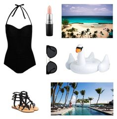 """""""Beach Wear"""" by pleundownunder ❤ liked on Polyvore featuring George, Mystique, MAC Cosmetics, Quay, CUL-DE-SAC and poolfloats"""