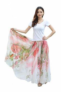 Vobaga Women's Full Circle Big Hem Summer BoHo Chiffon Long Skirt Flower Print