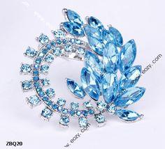 5.5x5cm Fashion Sea Blue Feather Spread Paved Crystal Pin Brooch Rhinestone