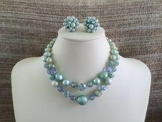 Vintage Aqua Necklace Earring Set Adjustable 14 by NeutralNellies