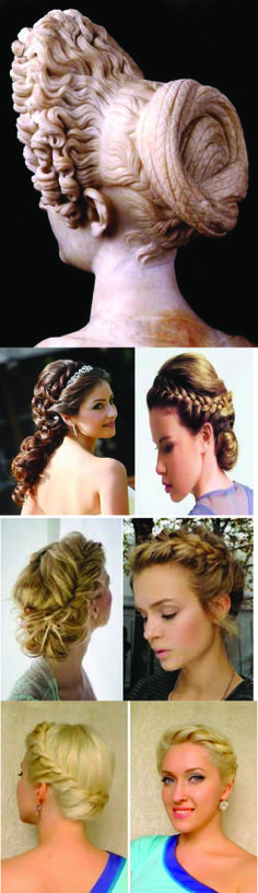 "Greek Hair Styles were beautiful. They fused braids and curls in many variations of pinned hairstyles. Most of these pinned styles were considered up do looks Young Flavian Woman c.90 ce height 25""Rome"