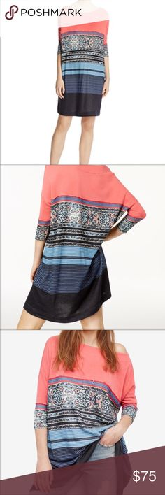 NWT Free People Dress Tunic * Item Condition: New with tag * Color: Coral / Blue * Size: Medium This can be worn as a dress or as a long tunic. Either way, it's so stylish! All items are from a smoke free and pet free home. Free People Dresses Midi