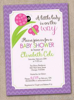 little lady purple ladybug girls printable baby shower invitation