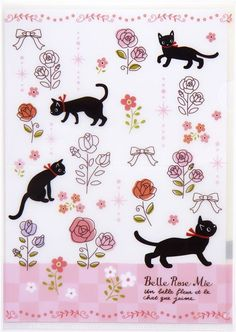 white A5 mini plastic file folder with cats and roses