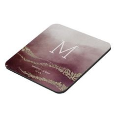 Awash Elegant Watercolor in Surf Wedding Monogr Coaster - gold wedding gifts customize marriage diy unique golden