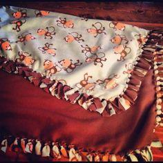 No sew fleece baby blanket, love these.. (No) sew easy!