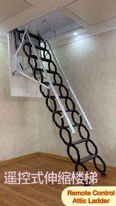 Home Stairs Design, Home Interior Design, Attic Ladder, Attic Loft, Modern Staircase Railing, Warehouse Loft, Ideas Para Organizar, Wooden Ladder, Room Design Bedroom
