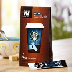 Starbucks VIA® Ready Brew Decaf Italian Roast  A decaffeinated dark roast coffee with robust character and sweet, smoky flavor. Tasting Notes  Roasty & Sweet Enjoy this with:  Roasted marshmallows around a roaring campfire. Roast Dark   $10.95 12 servings  http://websites-buy.com/starbucks-coffee-store