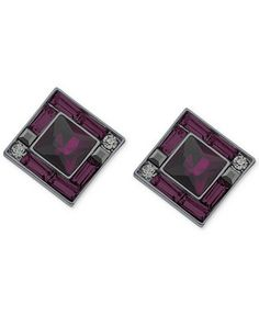 GUESS Hematite-Tone Purple Crystal Square Earrings