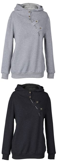 Take this Only $22.99, 7 Days delivery&easy return! This hoodie is detailed with inclined zipper/button ornamented&raglan sleeve.Find it at Cupshe.com