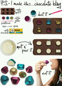 Like this idea! Wanna try it with a different shape maybe ~ chocolate and edible glitter shapes