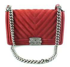 Chanel Chevron Nubuck Red Medium Boy Bag 2017 Bags 2017, Red Media, Edgy Look, Chanel Boy Bag, Classic Style, Chevron, Product Launch, Shoulder Bag, Chain