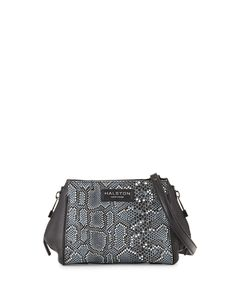 c419f896001b Halston Heritage Mosaic Python-Embossed Leather Crossbody Bag