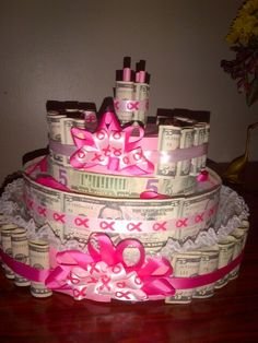 In honor of her turning 55, I made her money cake made of 5 dollar bills! :-)