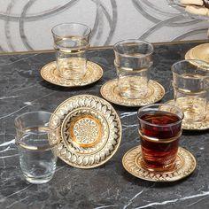 Arabic Tea, Tea Glasses, Cafe Food, Turkish Coffee, Gold Material, Chai, Coffee Shop, Turkey, Plates