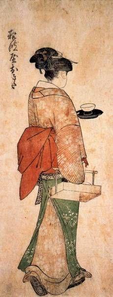 Okita the tea house girl - Kitagawa Utamaro Art Occidental, Japanese Woodcut, Art Chinois, Japan Painting, Art Asiatique, Art Japonais, Art Et Illustration, Japanese Prints, Japan Art