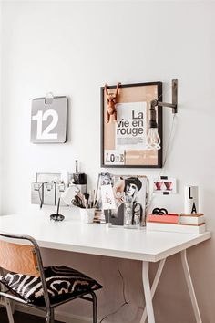 A Cool Monochrome Swedish Home Desk Space, Home Office Space, Home Office  Decor,