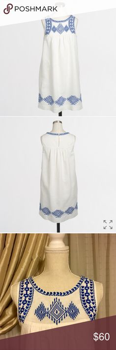 NWT J Crew Linen-Cotton Embroidered Dress PRODUCT DETAILS Linen/cotton. Falls above knee. Button closure. Ivory style is lined, black style is unlined. Machine wash. Import. J. Crew Dresses