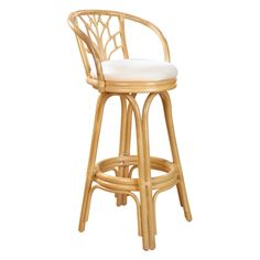 Hospitality Rattan Valencia Indoor Swivel Rattan & Wicker 24 in. Counter Stool with Cushion - Natural - Bar Stools at Hayneedle