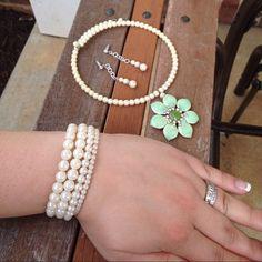 Pearl Chocker Necklace with Earrings & Bracelets Not real pearls. Beautiful chocker necklace with a light blue or teal color. Jewelry Earrings