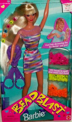 bead blast barbie, i use to have her, and i would cry when the beads wouldn't stay in my hair