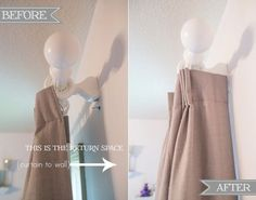 """Want your curtains to look fuller? Measure the space between the rod and the wall — this space is called the """"drapery return"""" — so your curtains can wrap all the way around. Get the tutorial at Sengerson »   - CountryLiving.com"""