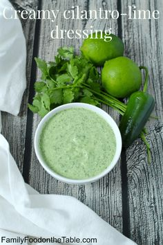 This creamy cilantro lime dressing takes just minutes to make in a blender and has a bright, fresh taste that's great for salads, grain bowls and grilled chicken and meat. #cilantrolimedressing #cilantrodressing #homemadedressing | www.familyfoodonthetable.com