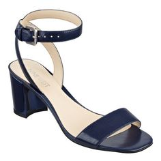 "Ultra-feminine. Simple. Chic. And will never go out of style. Our Tullip open toe sandals feature and adjustable ankle strap with buckle closure. Wear yours with everything from jeans to printed dresses. Leather upper. Man-made lining and sole. Padded insole for all-day comfort. 2 1/2"" block heel. Imported."