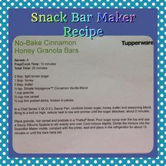 No Bake Cinnamon-Honey Granola Bars ~ Tupperware Recipe for the Snack Bar Maker