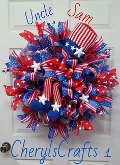Uncle Sam Patriotic Wreath, 4th of July,Independence Day Wreath,Red White Blue Wreath,Patriotic Decor,Labor Day Decor by CherylsCrafts1 on Etsy