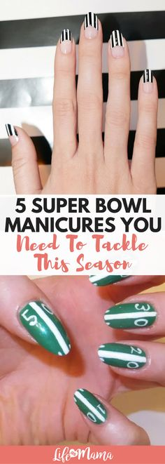 Whether you are a die hard football fan, or just hit up the parties because of all the great food, Super Bowl Sunday is the perfect excuse to do a fun mani. We've rounded up some stylish Super Bowl manicures that will get you in the spirit in no time. #superbowl #superbowlmani #superbowlmanicure #mani #manicure #footballmani #footballmanicure
