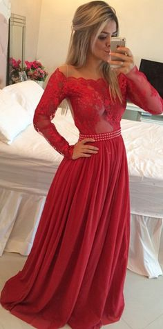 Long prom Dresses,Timeless A-Line Off the Shoulder Long Red Chiffon Prom/Evening Dress with Long Sleeves