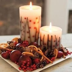 Potpourri and candle centrepiece