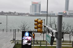 View of Canada, across the river from General Motors offices in downtown Detroit