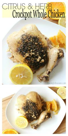 Crockpot whole chicken recipe with citrus and herbs | Easy Summer Slow Cooker meal idea, with all of the fresh flavors of the season