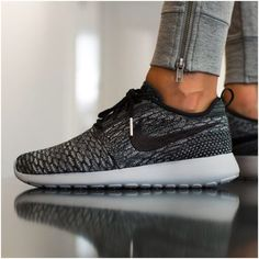 Nike Flyknit Roshe Run Sneakers •Roshe One Flyknit Sneakers. Color is Cool Grey/Wolf Grey/White/Black and it is sold out online and in stores.  •Women's size 8. Runs large, would be better for an 8.5.  •New in box (no lid). NO TRADES/PAYPAL. Nike Shoes Sneakers