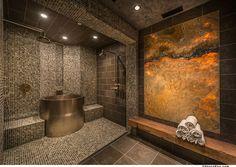Contemporary Master Bathroom with Rain shower, slate tile floors, Handheld showerhead, Master bathroom, High ceiling