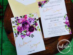 Invitatie nunta cu flori mov Wedding Flowers, Weeding, Design, Grass, Weed Control, Killing Weeds, Bridal Flowers