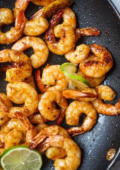 Caramelized Honey Lime & Garlic Shrimp - add a bit of chipotle sauce to make the sauce more flavorful and less sweet. Seafood Recipes, Dinner Recipes, Cooking Recipes, Healthy Recipes, Healthy Shrimp Recipes, Cooked Shrimp Recipes, Honey Shrimp, Garlic Shrimp, Cilantro Lime Shrimp