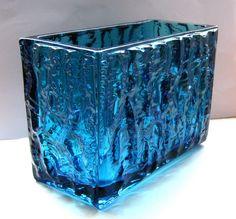 Sklo Union 'Moravia' Blue Glass Jardiniere, Vladislav Urban, Rosice Glassworks. ie.picclick.com