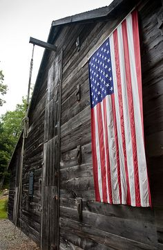 Old Barn with Draped American Flag