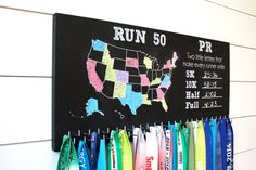 I think this is cool! PR and the 50 states challenge plus race hooks | Run 50 States Medal Holder with PR list and 50 hooks  *** Chalkboard*** - York Sign Shop - 2