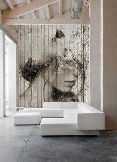 Large graphic wall art Jak umieszczać portret we wnętrzu? Wall Murals, Wall Art, Art Walls, Wood Walls, Wall Collage, Contemporary Decor, Living Room Designs, Street Art, Wall Decor