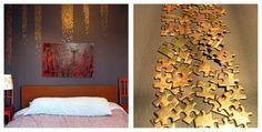 Einfach Puzzleteile an der Wand befestigen. Welches Muster es werden soll und ob ihr ein altes Puzzle in einer Farbe besprüht, bleibt dabei euch überlassen. :) Die Puzzleteile könnt ihr mit Klebepads befestigen.
